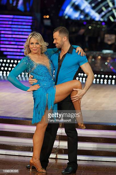 Fern Britton and Artem Chigvintsev attends a photocall ahead of the Strictly Come Dancing Live Tour at NIA Arena on January 17 2013 in Birmingham...