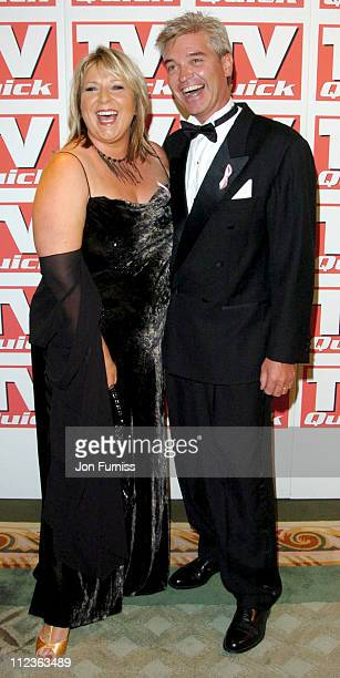 Fern Britton and Phillip Schofield during 2004 TV Quick Soap Awards Arrivals at Dorchester Hotel in London Great Britain