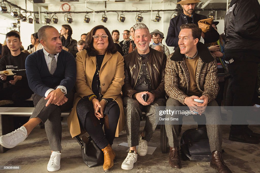 Fern Mallis, Nick Wooster and Eric Jennings sit in the front row during the Duckie Brown show during New York Fashion Week Men's Fall/Winter 2016 at Skylight at Clarkson Sq on February 02, 2016 in New York City.