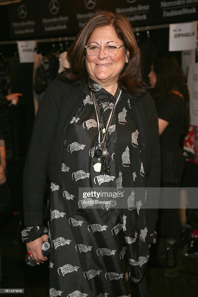 <a gi-track='captionPersonalityLinkClicked' href=/galleries/search?phrase=Fern+Mallis&family=editorial&specificpeople=201774 ng-click='$event.stopPropagation()'>Fern Mallis</a> poses backstage at the Vivienne Tam Fall 2013 fashion show with TRESemme during Mercedes-Benz Fashion Week at The Stage at Lincoln Center on February 10, 2013 in New York City.