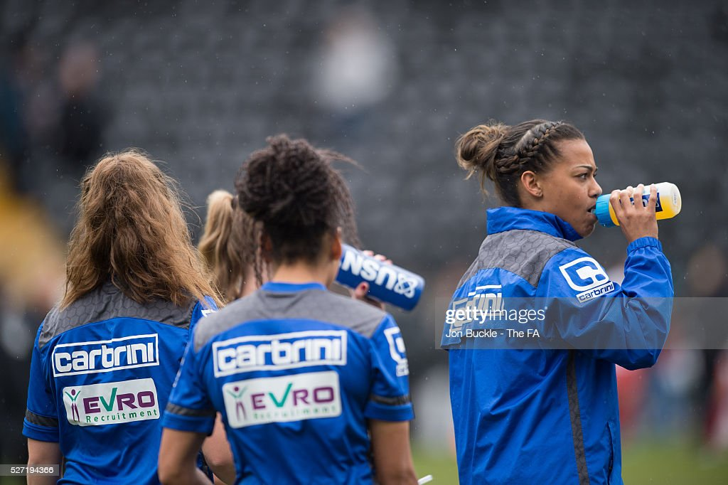 Fern Whelan of Notts County Ladies FC takes a break during warm up prior to kick off for the match between Notts County Ladies FC v Liverpool Ladies FC on May 2, 2016 in Nottingham, England.