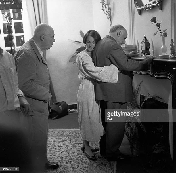 Fernand Sardou and Fran��oise Arnoul repeat a scene of 'King of Yvetot' under the look of Jean Renoir during the shooting of the program 'The small...