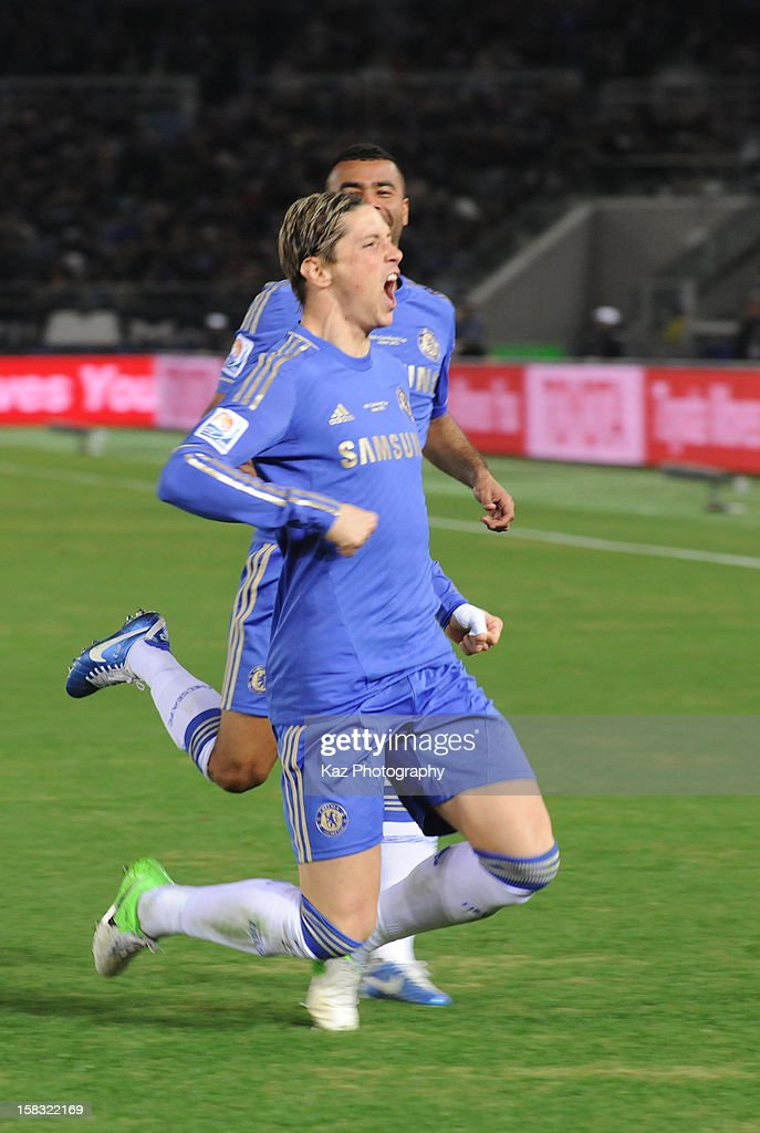 Fernand Torres of Chelsea celebrates his goal with Ashley Cole during the FIFA Club World Cup Semi Final match between CF Monterrey and Chelsea at International Stadium Yokohama on December 13, 2012 in Yokohama, Japan.