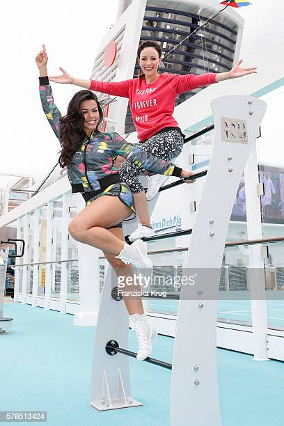 Fernanda Brandao and Jasmin Wagner during the baptism of the cruise ship 'Mein Schiff 5' on July 15 2016 in Kiel Germany