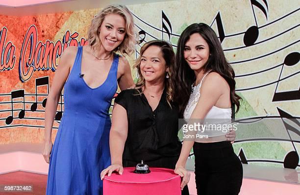 Fernanda Castillo Adamari Lopez and Martha Higareda are seen on The Set Of Telemundo's 'Un Nuevo Dia' to promote 'No Manches Frida' at Telemundo...