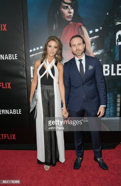 Fernanda Castillo and Erik Hayser arrive at the Premiere Of Netflix's 'Ingobernable' at Colony Theater on March 15 2017 in Miami Beach Florida