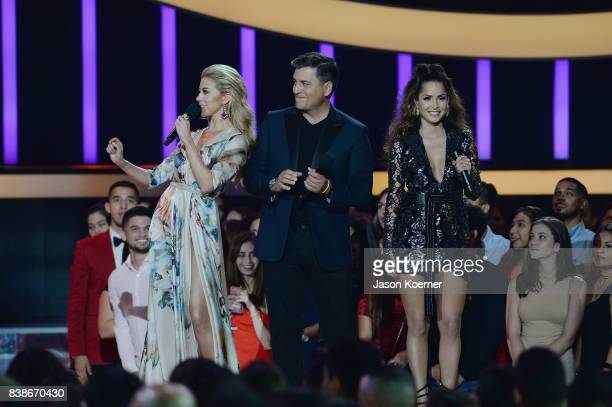Fernanda Castillo Daniel Sarcos and Carmen Villalobos on stage at Telemundo's 2017 'Premios Tu Mundo' at American Airlines Arena on August 24 2017 in...