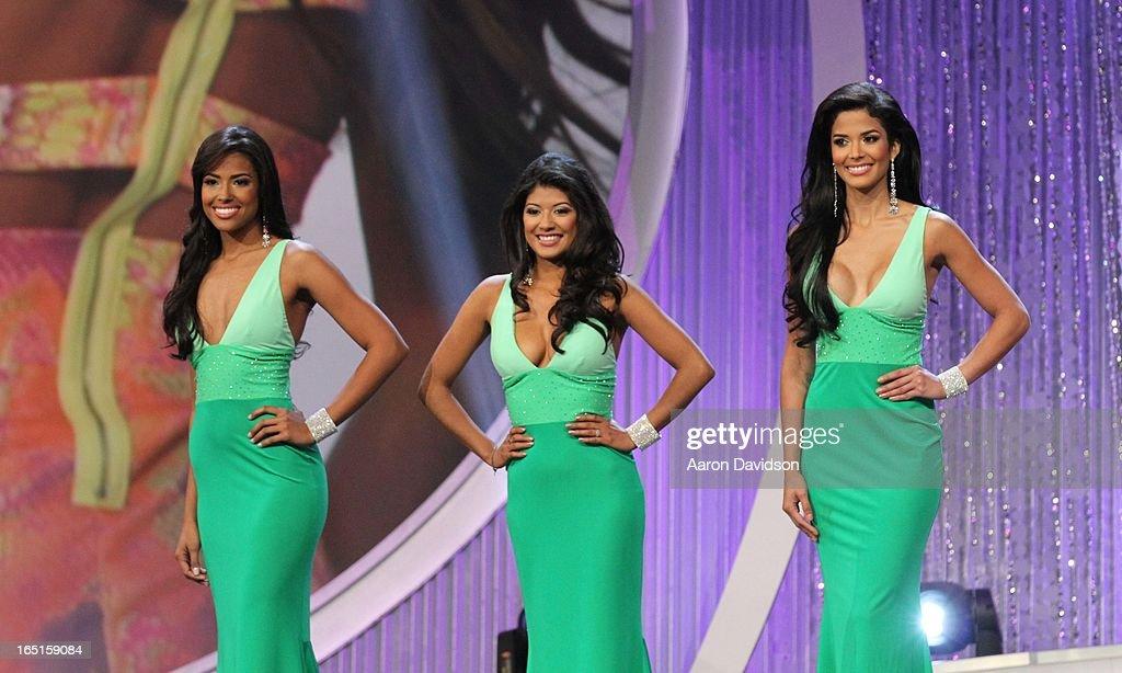 Fernanda Loconsolo, Karina Hermosillo and Audris Rijo attend Univisions Nuestra Belleza Latina Finalists Revealed at Univision Headquarters on March 31, 2013 in Miami, Florida.