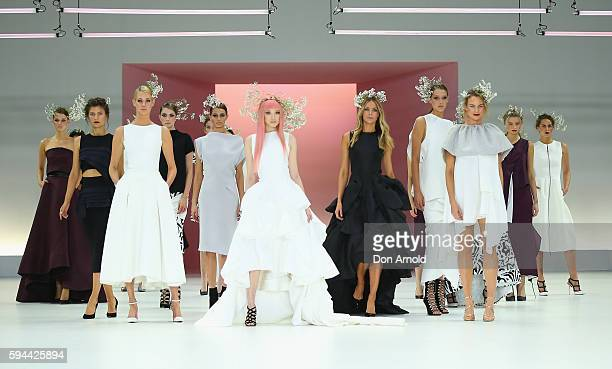 Fernanda Ly and Jennifer Hawkins showcases designs by Alex Perry during the Myer Spring 16 Launch at Hordern Pavilion on August 23 2016 in Sydney...