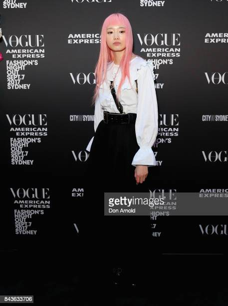 Fernanda Ly poses during Vogue American Express Fashion's Night Out 2017 on September 7 2017 in Sydney Australia