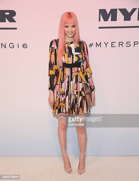 Fernanda Ly poses on the red carpet during the Myer Spring 16 Launch at Hordern Pavilion on August 23 2016 in Sydney Australia