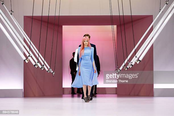 Fernanda Ly showcases designs by Alex Perry during the Myer Spring 16 Fashion Launch at Hordern Pavilion on August 23 2016 in Sydney Australia
