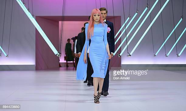 Fernanda Ly showcases designs by Alex Perry during the Myer Spring 16 Launch at Hordern Pavilion on August 23 2016 in Sydney Australia