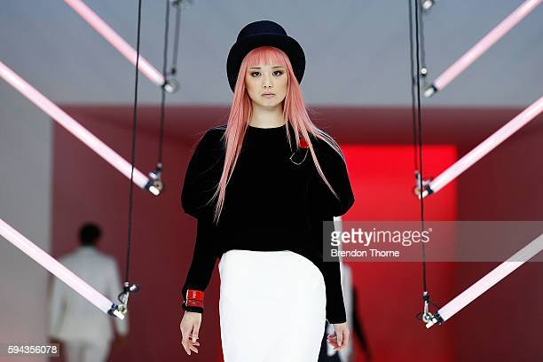 Fernanda Ly showcases designs by Georgia Alice during the Myer Spring 16 Fashion Launch at Hordern Pavilion on August 23 2016 in Sydney Australia