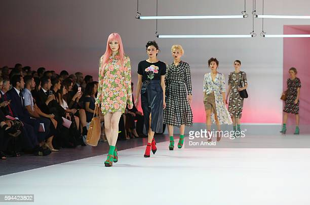 Fernanda Ly showcases designs by Kate Sylvester during the Myer Spring 16 Launch at Hordern Pavilion on August 23 2016 in Sydney Australia