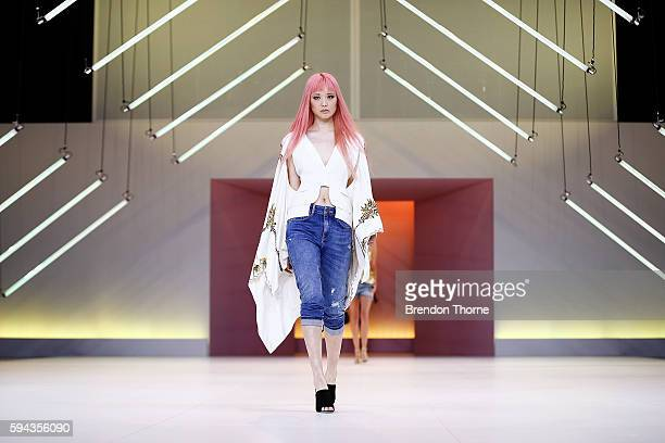 Fernanda Ly showcases designs by Sass Bide during the Myer Spring 16 Fashion Launch at Hordern Pavilion on August 23 2016 in Sydney Australia