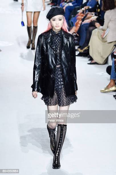 Fernanda Ly walks the runway during the Christian Dior show as part of the Paris Fashion Week Womenswear Spring/Summer 2018 on September 26 2017 in...