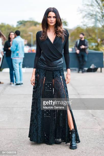Fernanda Motta poses during Sao Paulo Fashion Week N44 SPFW Winter 2018 at Ibirapuera's Bienal Pavilion on August 31 2017 in Sao Paulo Brazil