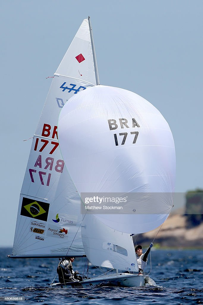 Fernanda Oliveira and Ana Barbachan of Brazil sail in the Pao de Acucar course during the Women's 470 class competition as part of the Copa Brasil de...