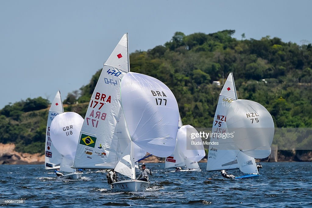 Fernanda Oliveira and Ana Barbachan of Brazil sail in the Pao de Acucar course during the Women's 470 class competition as part of the Copa Brasil on...