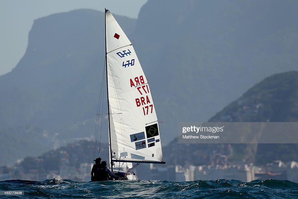 Fernanda Oliveira and Ana Barbachan of Brazil sail on the Copacobana course during the Women's 470 Class as part of the Aquece Rio International...