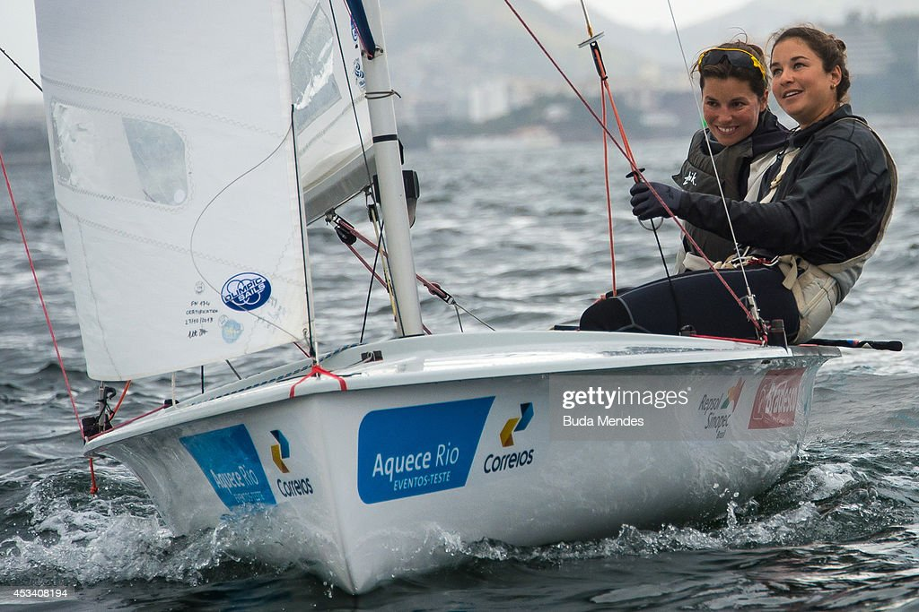 Fernanda Oliveira and Ana Barbachan of Brazil sail on the Pao de Acucar course during the Women's 470 competition as part of the Aquece Rio...