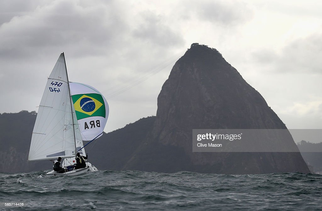 Fernanda Oliveira and Ana Luiza Barbachan of Brazil in action in their 470 class dinghy during training ahead of the Rio 2016 Olympic Games at the...