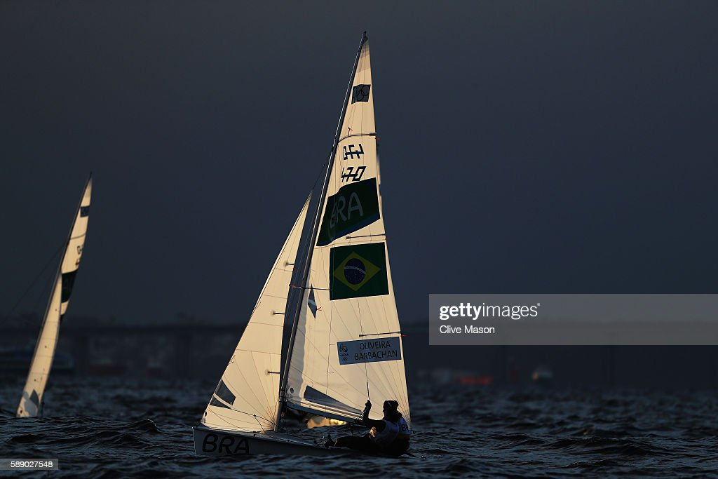 Fernanda Oliveira of Brazil and Ana Luiza Barbachan of Brazil compete in the Women's 470 class on Day 7 of the Rio 2016 Olympic Games at Marina da...