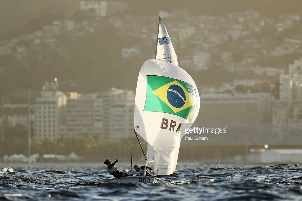 Fernanda Oliveira of Brazil and Ana Luiza Barbachan of Brazil compete in the Women's 470 class competes on Day 7 of the Rio 2016 Olympic Games at...