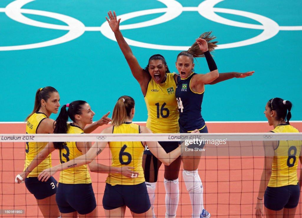 Fernanda Rodrigues Fabiana Oliveira Jaqueline Carvalho Danielle Lins Fabiana Claudino and Sheilla Castro of Brazil celebrate after a point against...
