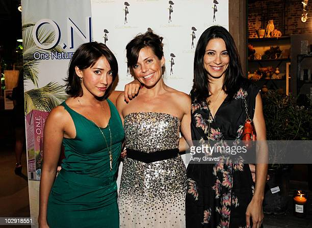Fernanda Romero Rachel Sarnoff and Maria Elana Laas attend the Eco Stiletto Anniversary Party at Rolling Greens on July 14 2010 in Los Angeles...