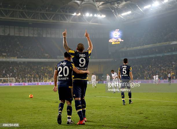 Fernandao of Fenerbahce celebrates after scoring a goal during the Turkish Spor Toto Super League football match between Fenerbahce and Torku...