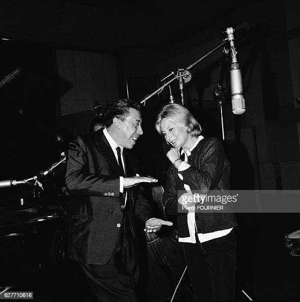 Fernandel and Michele Morgan in Recording Studio