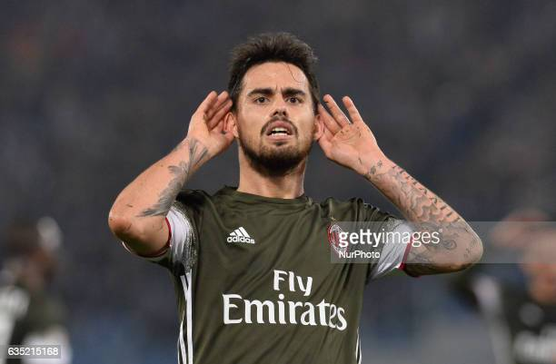 Fernandez Suso celebrates after scoring a goal 11 during the Italian Serie A football match between SS Lazio and AC Milan at the Olympic Stadium in...