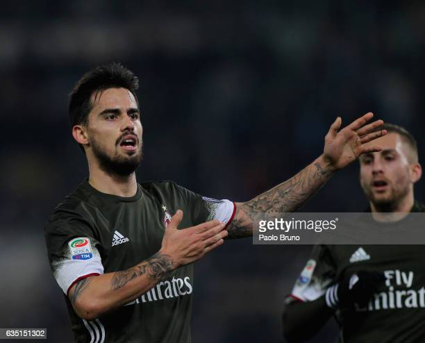 Fernandez Suso of AC Milan celebrates after scoring the team's first goal during the Serie A match between SS Lazio and AC Milan at Stadio Olimpico...