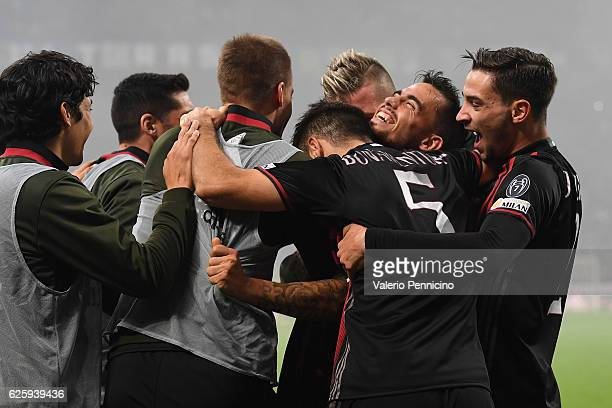 Fernandez Suso of AC Milan celebrates his second goal with team mates during the Serie A match between AC Milan and FC Internazionale at Stadio...