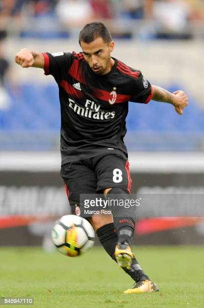 Fernandez Suso of AC Milan during the Serie A match between SS Lazio and AC Milan at Stadio Olimpico on September 10 2017 in Rome Italy