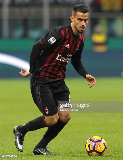 Fernandez Suso of AC Milan in action during the Serie A match between AC Milan and AC ChievoVerona at Stadio Giuseppe Meazza on March 4 2017 in Milan...