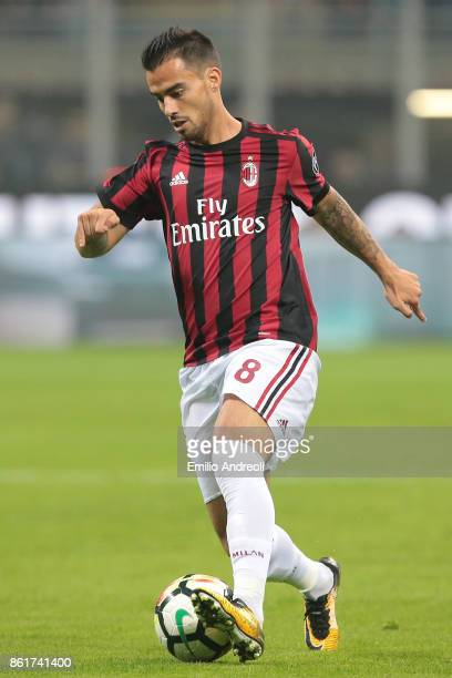 Fernandez Suso of AC Milan in action during the Serie A match between FC Internazionale and AC Milan at Stadio Giuseppe Meazza on October 15 2017 in...