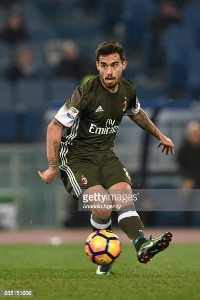 Fernandez Suso of AC Milan in action during the Serie A soccer match between SS Lazio and AC Milan at Stadio Olimpico in Rome Italy on February 13...