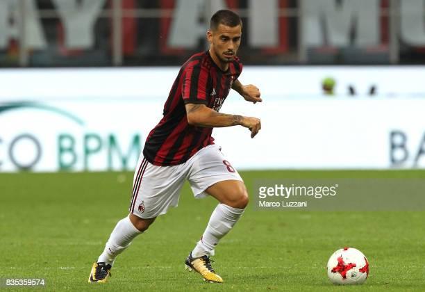 Fernandez Suso of AC Milan in action during the UEFA Europa League Qualifying PlayOffs round first leg match between AC Milan and KF Shkendija 79 at...
