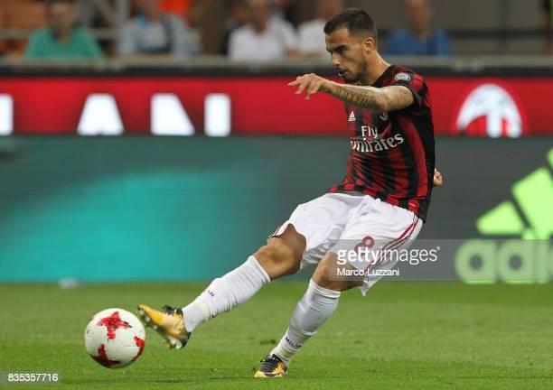 Fernandez Suso of AC Milan kicks a ball during the UEFA Europa League Qualifying PlayOffs round first leg match between AC Milan and KF Shkendija 79...