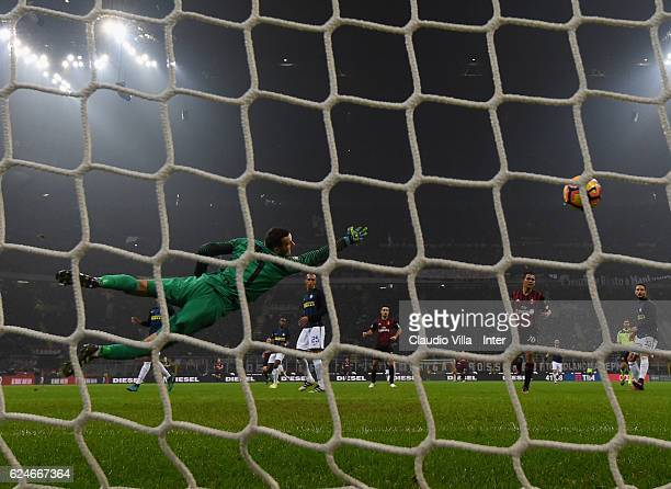Fernandez Suso of AC Milan scores the opening goal during the Serie A match between AC Milan and FC Internazionale at Stadio Giuseppe Meazza on...