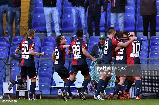 Fernandez Suso of Genoa celebrates after scoring the opening goal during the Serie A match between Genoa CFC and US Citta di Palermo at Stadio Luigi...