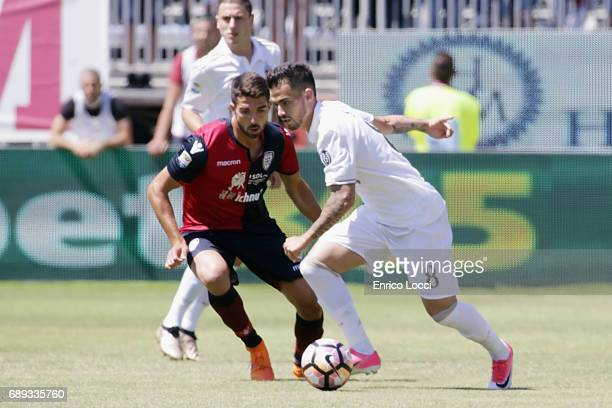 Fernandez Suso of Milan in action during the Serie A match between Cagliari Calcio and AC Milan at Stadio Sant'Elia on May 28 2017 in Cagliari Italy