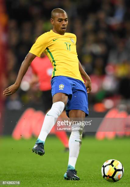 Fernandinho of Brazil in action during the International Friendly match between England and Brazil at Wembley Stadium on November 14 2017 in London...