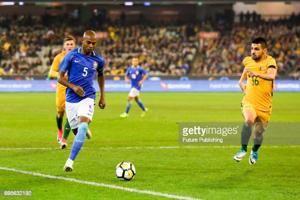 Fernandinho of Brazil sprints towards the Australian penalty area as Brazil plays Australia in the Chevrolet Brasil Global Tour 2017 on June 13 2017...