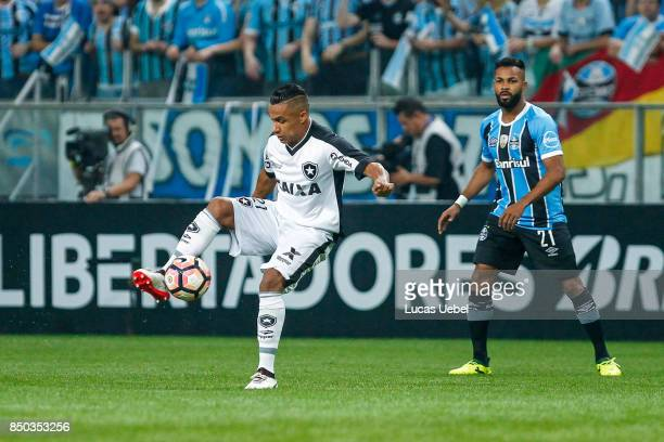 Fernandinho of Gremio battles for the ball against Arnaldo of Botafogo during the match between Gremio and Botafogo as part of Copa Bridgestone...