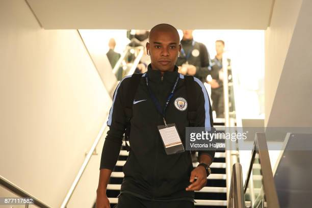 Fernandinho of Manchester City arrives to the stadium prior to the UEFA Champions League group F match between Manchester City and Feyenoord at...