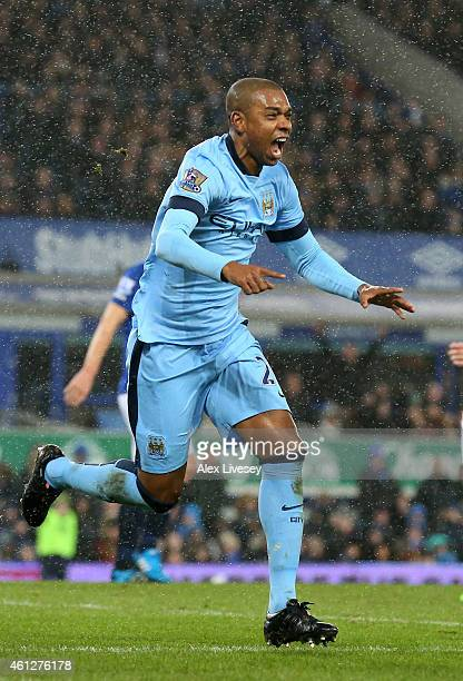 Fernandinho of Manchester City celebrates after scoring the opening goal during the Barclays Premier League match between Everton and Manchester City...